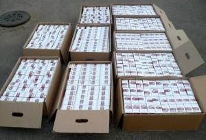 Коробки с сигаретной продукцией